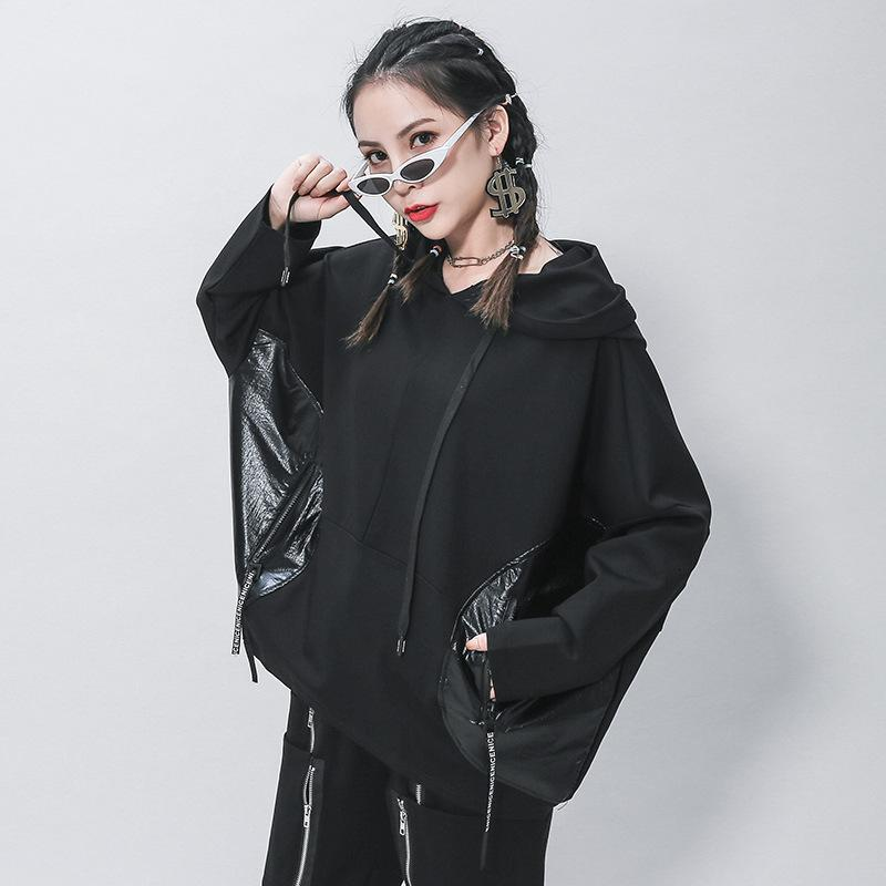 Bat-Hülse mit Kapuze personalisierte Patchwork Pullover Casual Seily Top Fat MM Lose Langarm Damenmode