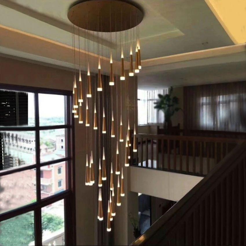 1-36 Köpfe LED Treppen Pendelleuchten Moderne Lampe Aluminium Acryl Lampenkörper Hang Wohnspeisesaal Küche Suspension Leuchte