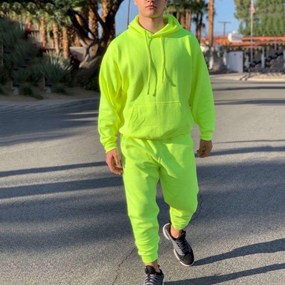 Mens Mode Trainingsanzüge Solid 2 Stück langarm Hoody Loose Swearpants Casual Sportuit Männlich Neueste Anzüge