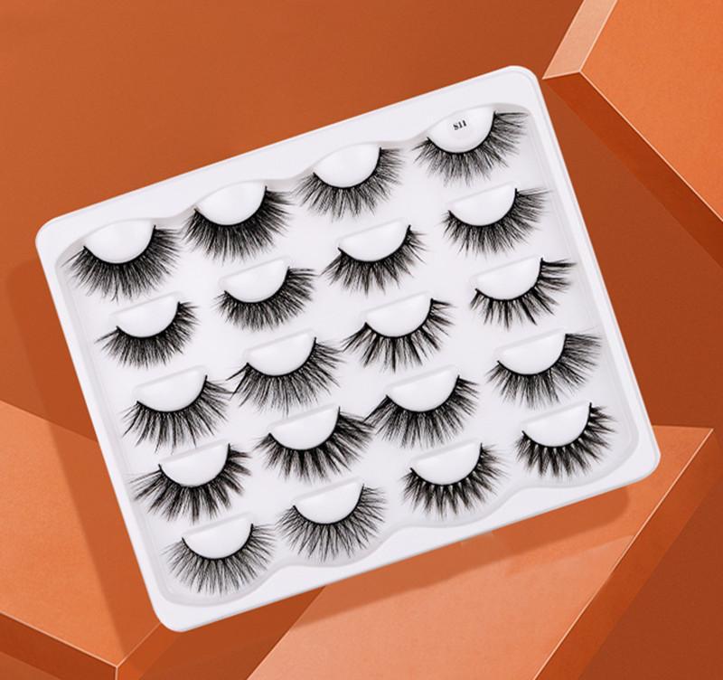 10 Pairs False Eyelashes 3D Faux Mink Lashes Handmade Dramatic Long Thick Soft Natural Wispy Fluffy Reusable Volume Eyelash Eye Makeup Tools