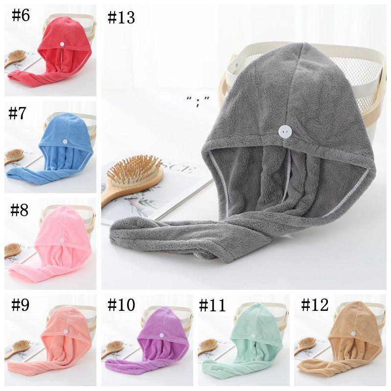 Dry Hair Caps Microfiber Quick Dry Shower Hair Caps Magic Absorbent Dry Hair Towel Drying Turban Wrap Hat Spa Bathing Caps OWB10514