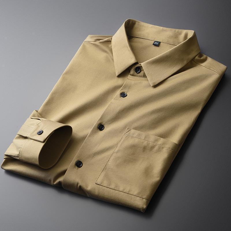Erkek Casual Gömlek 100% Pamuk Erkek Lüks Haki Uzun Kollu Elbise İlkbahar ve Sonbahar Slim Fit Erkek 4XL