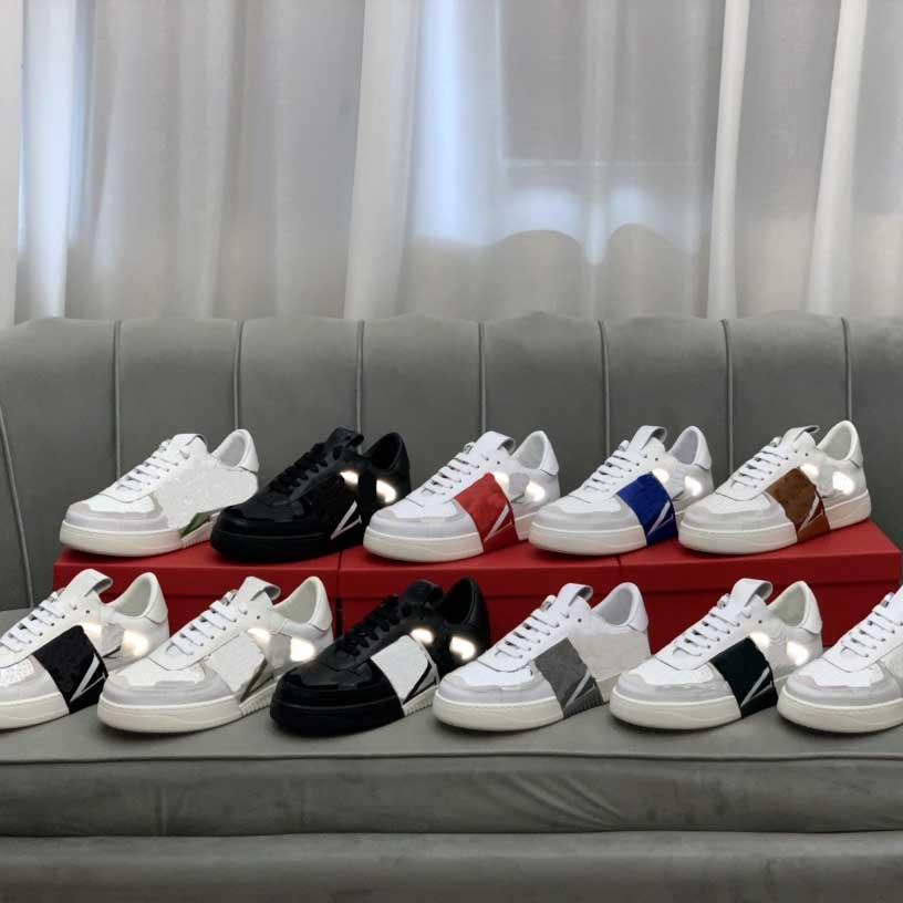 2021 Designer Casual Shoes Herren Patchwork Trendy 38-45 Turnschuhe Punknieten Niedrig Echtes Leder Skateboard Nieten Modesport Skateboard-Trainer mit Box