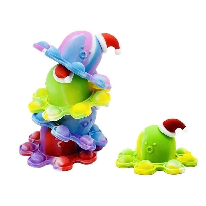 Christmas Noël Chapeau Fidget Poussez-le Bubble Popper Borad Jeu de caoutchouc Silicone Silicone Octopie Dolls Double côtés Visage Valeur Changements Porte-clés Sensory Keychain Charm G91PFPF