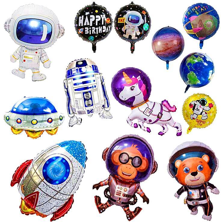 Astronaute SpaceShip Aluminium Foiler Ballon Flying Saucertte Rocket Dessin animé Science Fiction Milky Enfants Anniversaire Thème d'anniversaire Partie Système solaire FWF6831