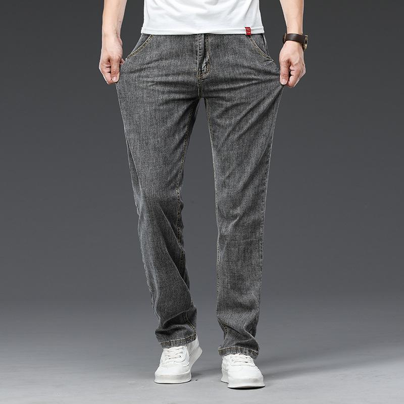 Jeans da uomo Estate Autunno Autunno New Fat Plus Size Uomo Elastico Elastico Stretch Straight Jeans Abbigliamento sottile Denim Pantaloni Abbigliamento da marca
