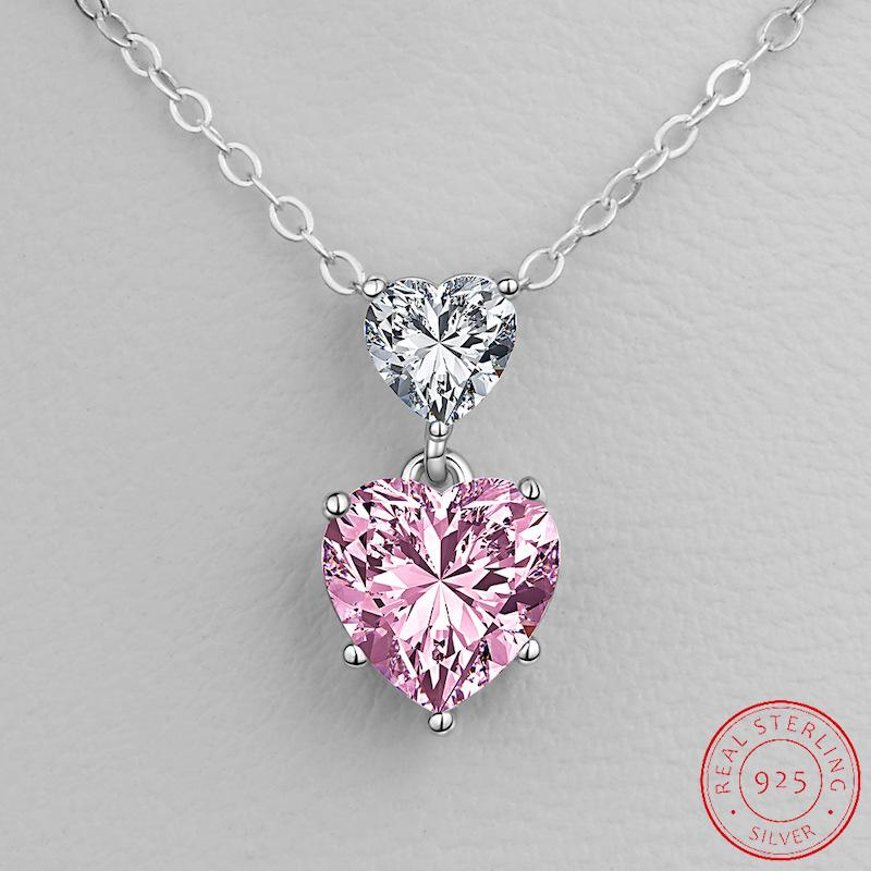 Valentine's Day 925 Sterling Silver Necklaces & Pendants Pink For Women Jewelry Gift Accessories XD123