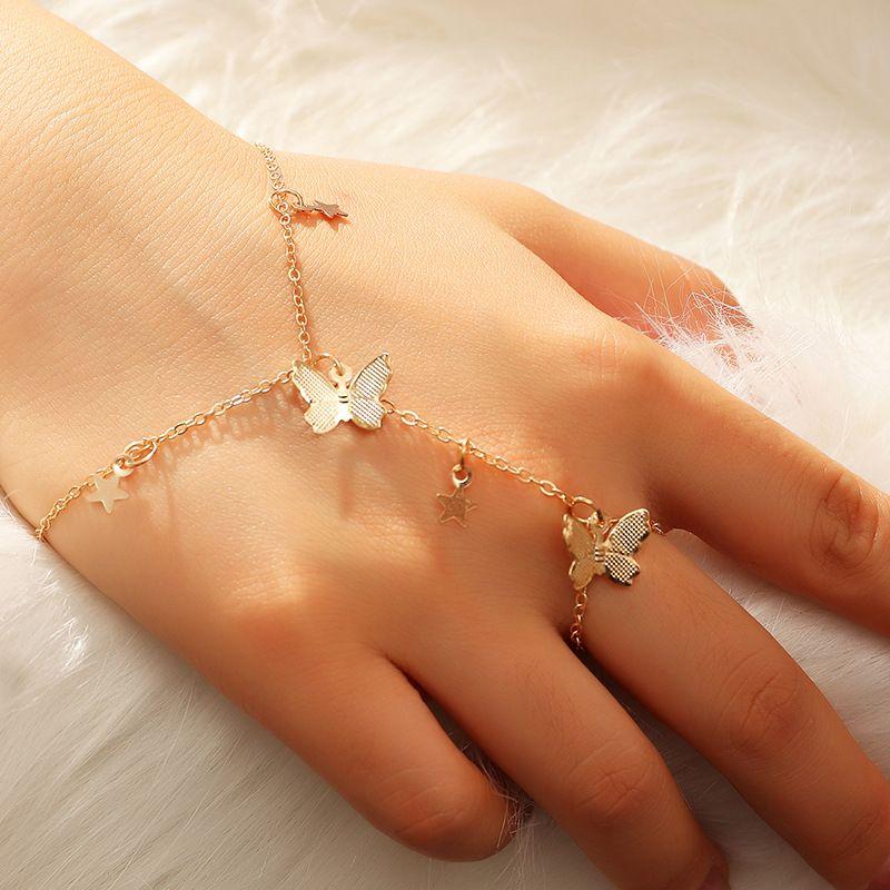 Chic Altın Yıldız Kelebek Yüzük Bilezik Kadınlar Için Bilek Zinciri Moda El Geri Zincir Bilezik Kadın Kol Bağlantı Charm Takı