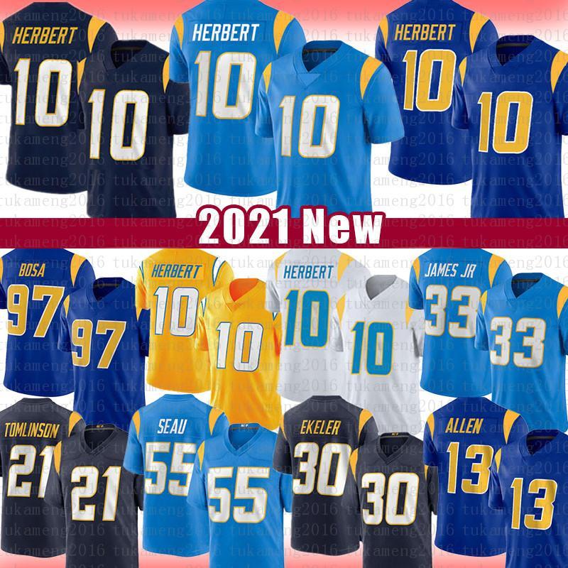 "10 Justin Herbert Football Jersey Los Joey Bosa Derwin 13 Keenan Allen James Austin Ladainian Tomlinson Ekeler Asante Samuel Jr. Angeles ""Chargers"" Junior Seau"