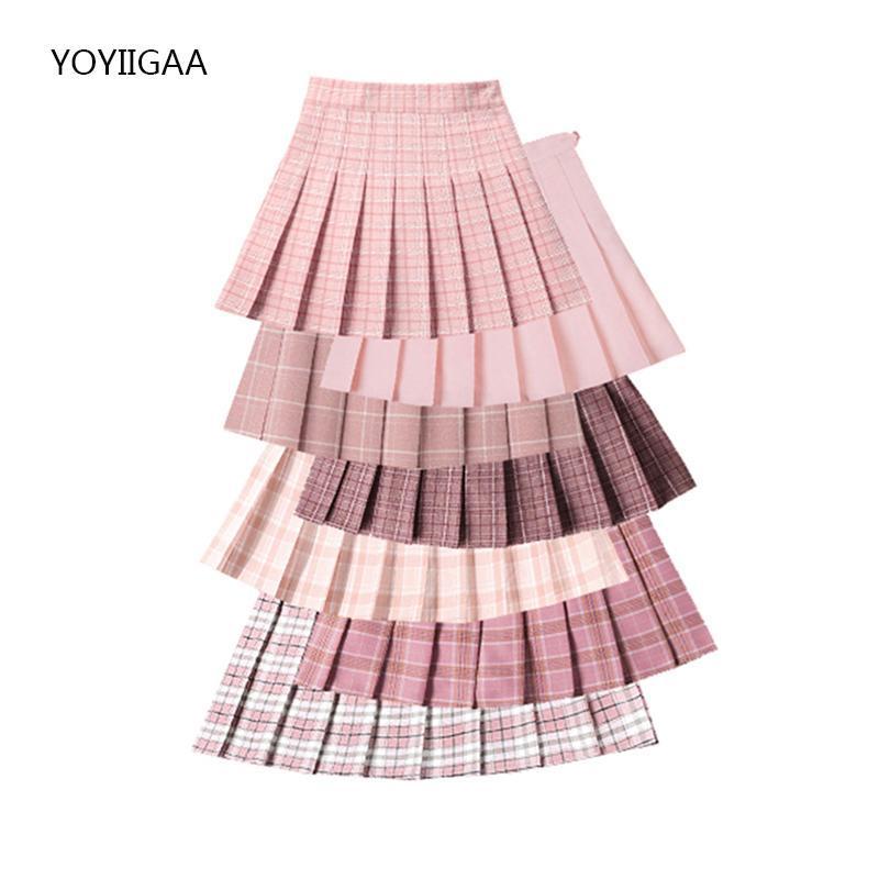 Skirts Summer Women Pleated High Waist Female Plaid Mini Skirt Sweet Cute Ladies Girls Dance Preppy Style