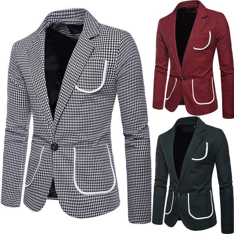 Tuta da uomo retrò Plaid Tasche a maniche lunghe Blazer Blazer Un Botton Slim Fit Cappotto aziendale formale per 3 colori S-2XL