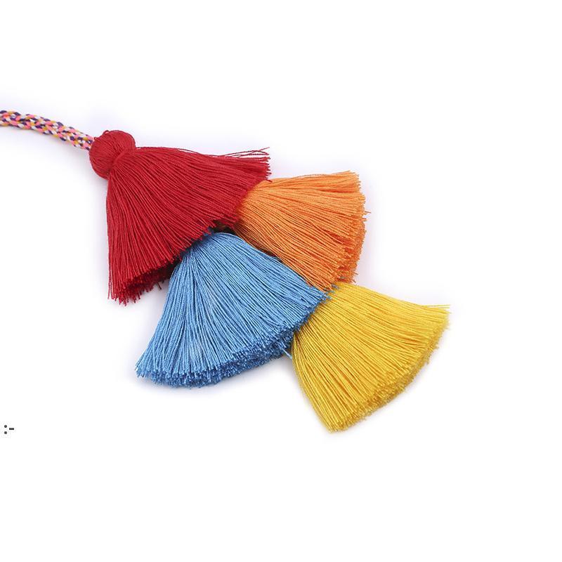 패션 핸드 짠 술 Tassel 키 체인 보헤미안 플러시 공 수하물 장식 펜던트 크리 에이 티브 DIY 선물 OWA7641