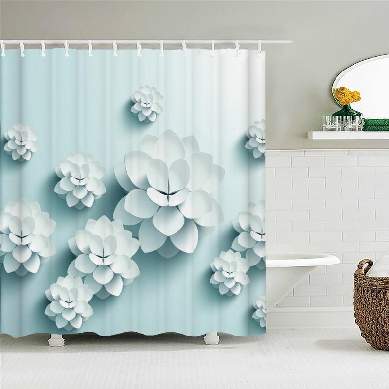 Duş Perdeleri Güzel Renkli Çiçek Çiçek Baskılı Frabic Su Geçirmez Polyester Kumaş Banyo Perdesi Kanca ile 180x180 cm