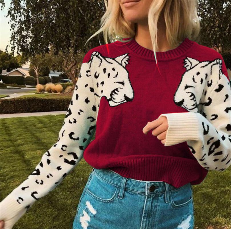 Frauenpullover Damen Gedruckt Leopard Warme Strickpullover Frauen Mode Tier Druck Oansatz Langarm Lose Pullover Tops