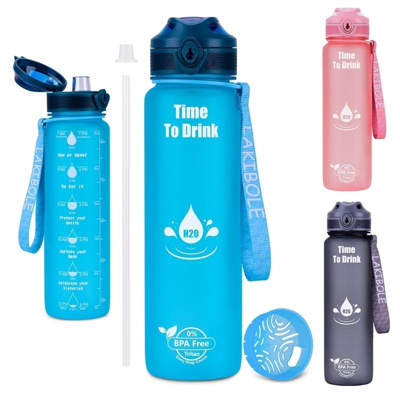 Garrafa de água Esportes 1000ml garrafa para beber com palha viagem ao ar livre portátil de vazamento de foco plástico BPA grátis 210409