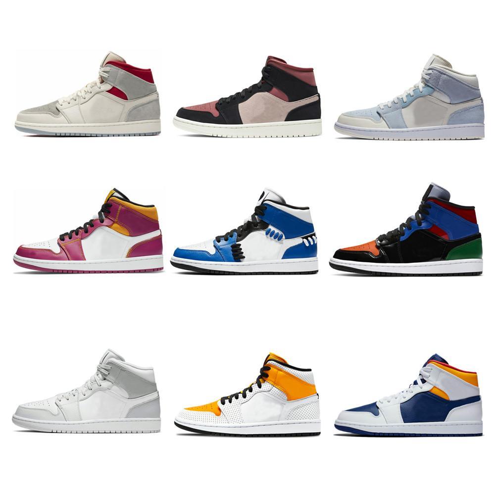 Jumpman 1 عالية og أحذية كرة السلة 1 ثانية منتصف العشب البرتقال لعبة الملكية unc رمادي كامو براءات براءاتي فاميليا الرجال النساء أحذية رياضية
