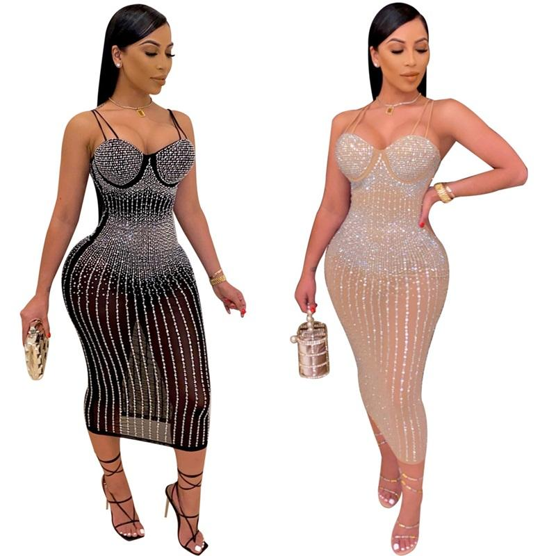 DHL Ship Sling Sling Perspective Slim Robe Sexy Summer Femmes Perspects Middle Minceur Longueur Longueur Dresses Club Party S-5XL VK2072