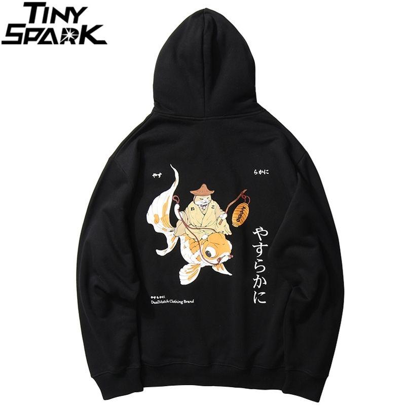 Men Streetwear Hip Hop Sweat-shirt Drôle Fisherman Cat Kanji Japonais Harajuku Pull Sweat à capuche en tôle d'hiver Hiver Automne 210728