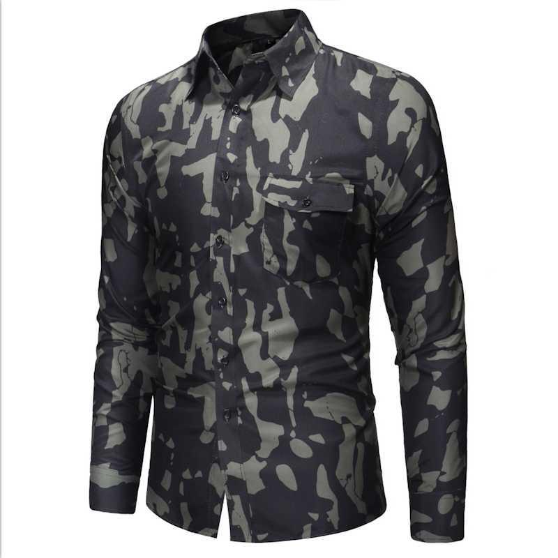 남자 봄과 가을의 긴팔 셔츠 카모 프린트 슬림 피트 야생 캐주얼 탑 셔츠