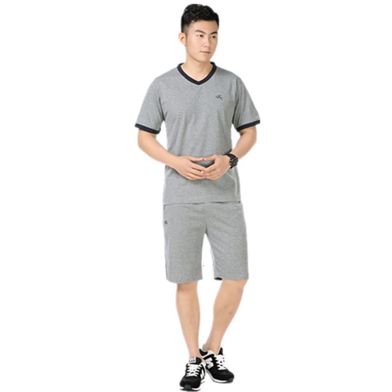 Erkek Eşofman Orta Yaşlı Ve Yaşlı Yaz V Yaka Kısa Kollu T-shirt Gösteren Ince Spor Iki Parçalı Set Moda Kentsel Giyim Toplu