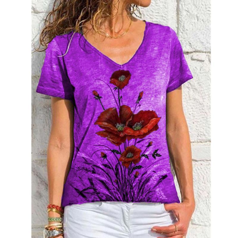 Kadın T-shirt Yaz Stil V Boyun Çiçekler Baskı Kadın T Shirt Kısa Kollu Moda Ince Hafif Kazak Bayanlar Giysileri Uzun Gömlek