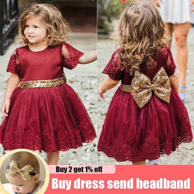 Vestidos de niña Vestido de niña rojo de verano Bautismo Ropa para niños Fiesta Boda Primera Comunión Vestido de cumpleaños Formal Ropa de niños 2 1 año