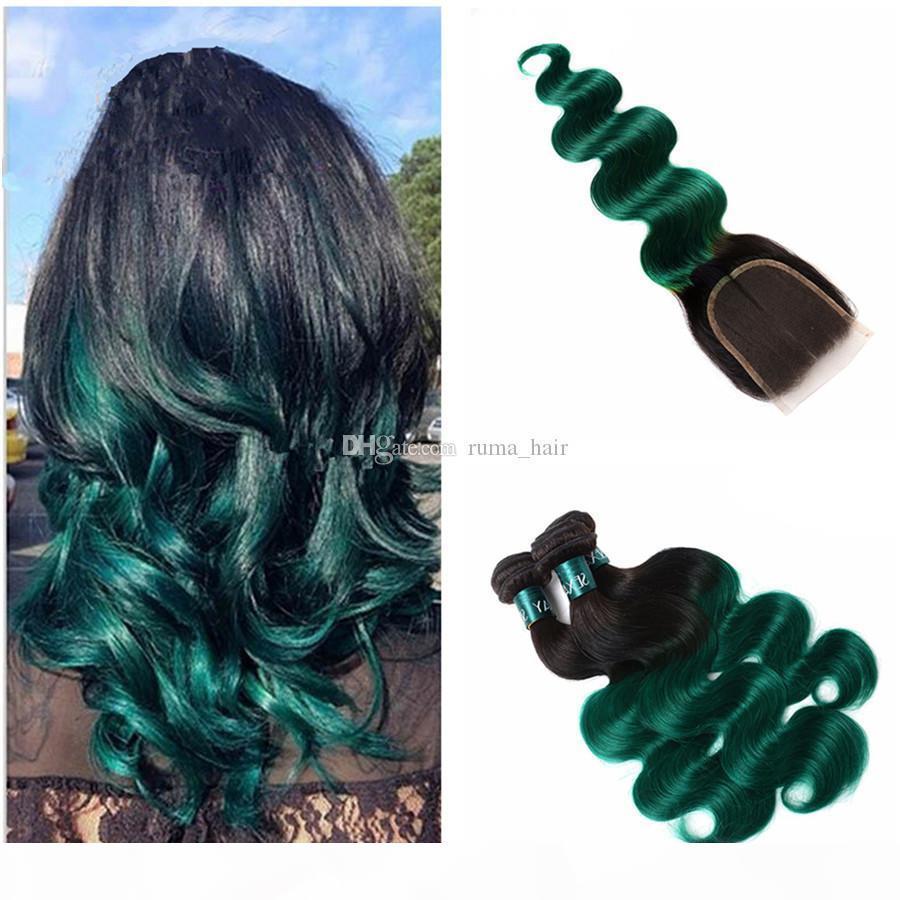 Green Green Ombre Capelli umani con chiusura a pizzo Capelli vergini vergini brasiliani Due tono 1b Chiusura del pizzo verde con il corpo Wave Hair Weave