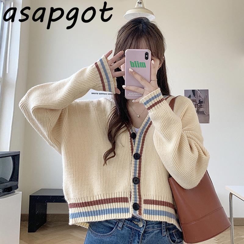 스웨터 여성 느슨한 야생 가을 코트 빈티지 일본 스타일 preppy V 목 스트라이프 카디 건 니트 패션 게으른 세련 된 한국 여성 니트 티