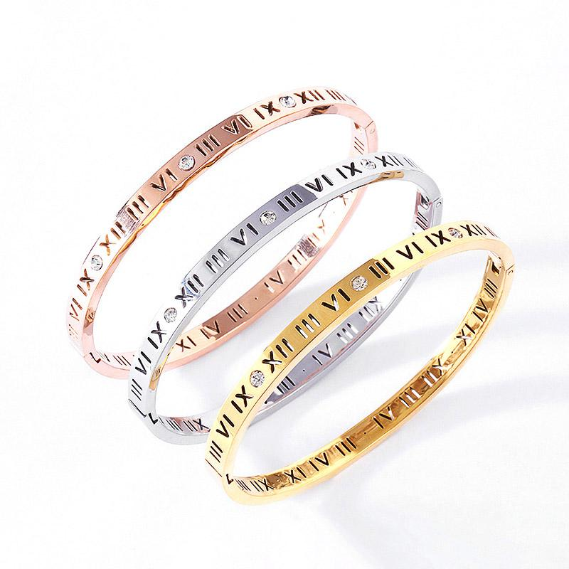 316L Romen Rakamları Bilezikler Bilezikler Lover için Moda Bileklik Düğün Bileklik Gül Altın Şükran Günü Aşk Bilezik Kutusu Olmadan 17 cm