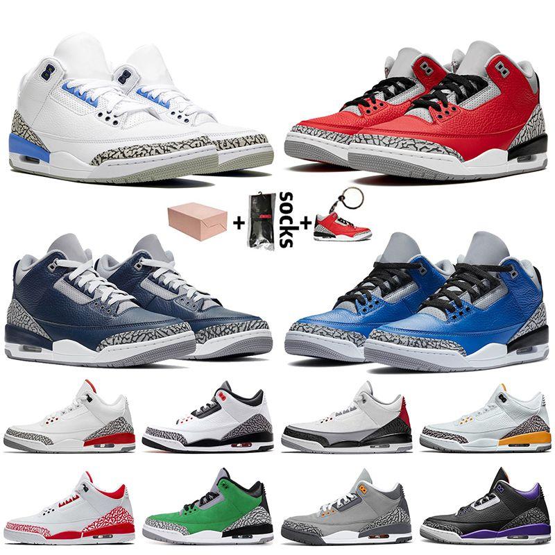 Nike Air Retro Jordan 3 3s stock x retro 3 avec la boîte Jumpman Hommes Chaussures de basket en UNC Fragment rouge Ciment Varsity royal entraîneurs des hommes Chaussures