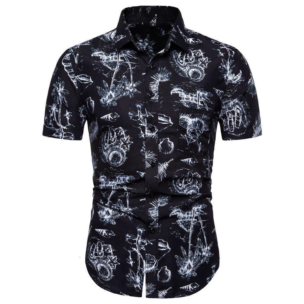 camicia da uomo estate casual moda manica corta manica corta hawaiian print slim fit beach 6myv