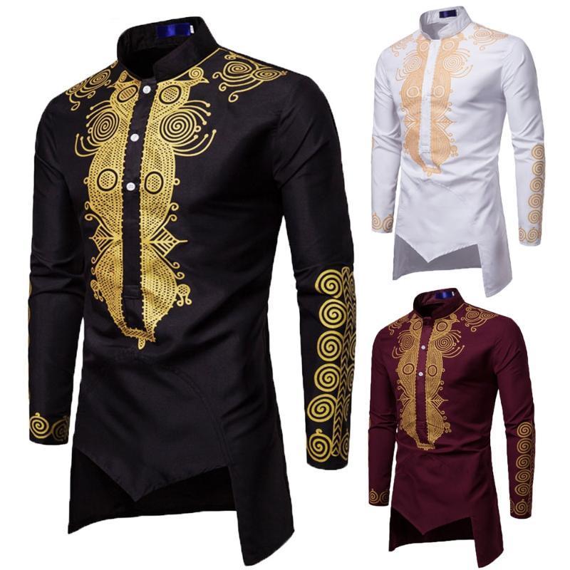 Men's Casual Shirts Men Shirt Long Sleeve Print Personality Costume Fashion Tops