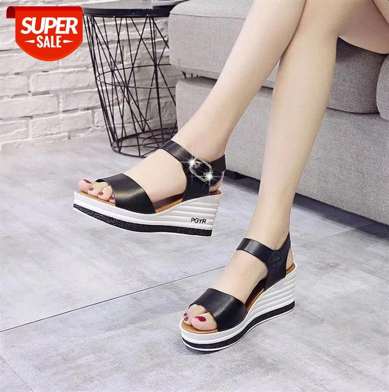 High Quality Summer Shoes Woman Sandals Leather Heel Wedge Female Sponge Cake with Open Toe Thick Shoe W206 #JA1d