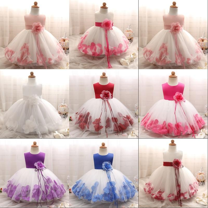 Baby Girls Flower Princess Dress 1 2 Years Old Birthday Party Christening Gown Kids Children Bridesmaid Wedding Dress 3-10 Years 968 X2