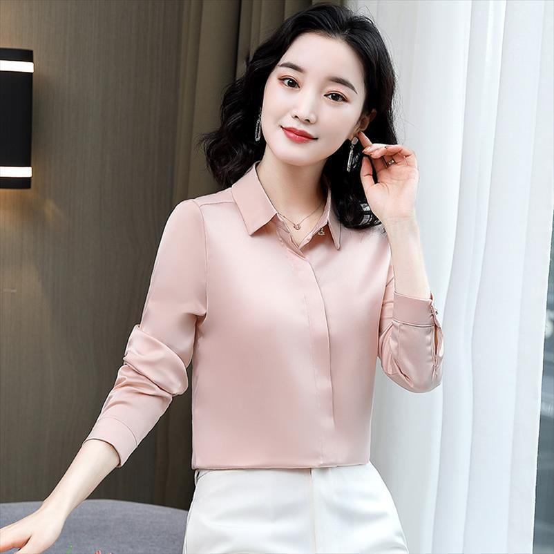 Korean Silk Long Sleeve Top Women Shirts Plus Size Woman Satin White Elegant Basic 3xl