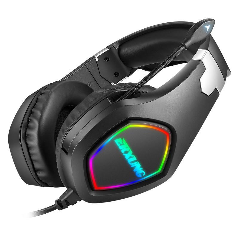 J20 헤드셋 마이크 게임 음악 헤드셋 유선 스테레오베이스 헤드셋 다채로운 빛나는 LED 빛 컴퓨터 오디오