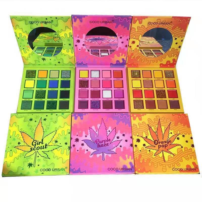Coco Urban Beauty Makeup Eye Shadow Girl Scout، Haze Purple Haze، Orange Pop 16 Color Matte Glitter Shimmer Eyeshadow Palette