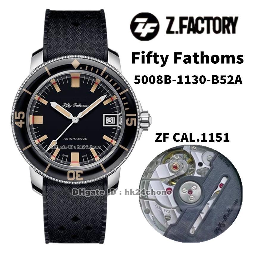 2021 ZF Relojes de fábrica 5008B-1130-B52A Cincuenta Fathoms Barakuda Edición Limitada Cal.1151 Autoamtic Mens Reloj de Hombre Negro Correa de goma Gents Sports Gents Relojes de pulsera