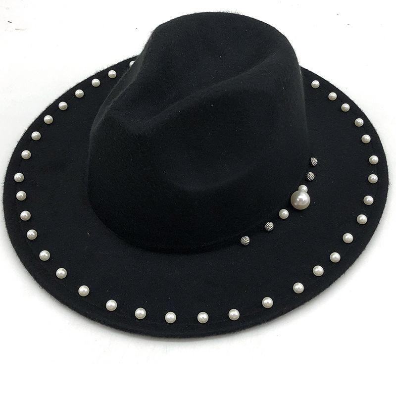Geniş Ağız Şapkalar Kadınlar için Kadın Cap Erkekler için Fedoras İlkbahar Sonbahar Moda 2021 Inci Caz Şapka Avrupa Amerikan Vintage Siyah Kış Yünü Keçe
