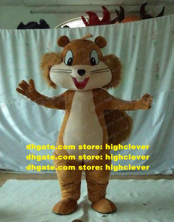 Lively Brown Squirrel Scuiridae Eichhoernchen Mascot Costume Mascotte With Big Hairy Tail Fancy Dress Adult No.352 Free Ship