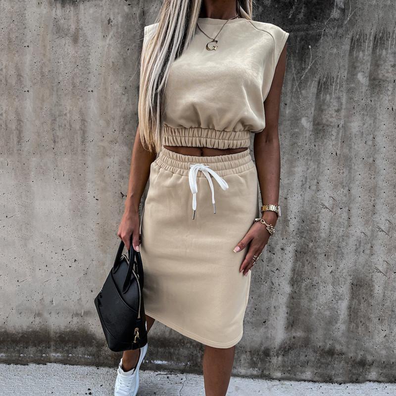 2021 Yaz Avrupa ve Amerikan dış ticaret çapraz sınır kadın giyim yeni ürün seksi kolsuz gevşek rahat moda takım iki parça kadın takım elbise