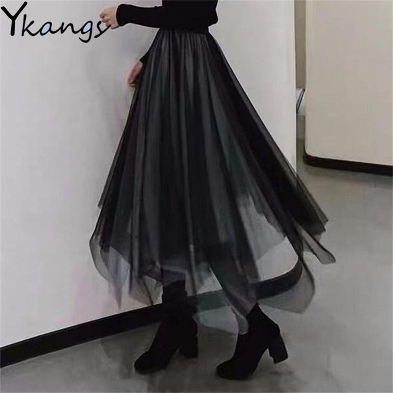 Gotik Siyah Tül Patchwork Uzun Düzensiz Etekler Elastik Yüksek Bel A-Line Mesh Pileli Midi Vintage Punk Streetwear 210421