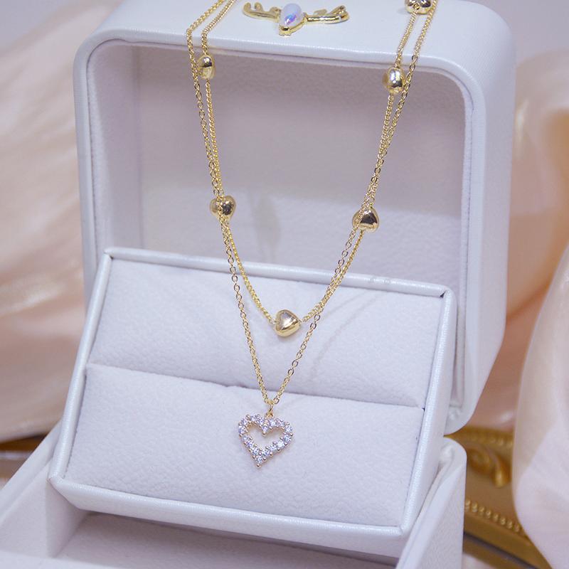 الذهب طبقة مزدوجة القلب قلادة ساطع بلينغ الزركون المرأة الترقوة سلسلة أنيقة سحر chocker الزفاف قلادة مجوهرات قلادات