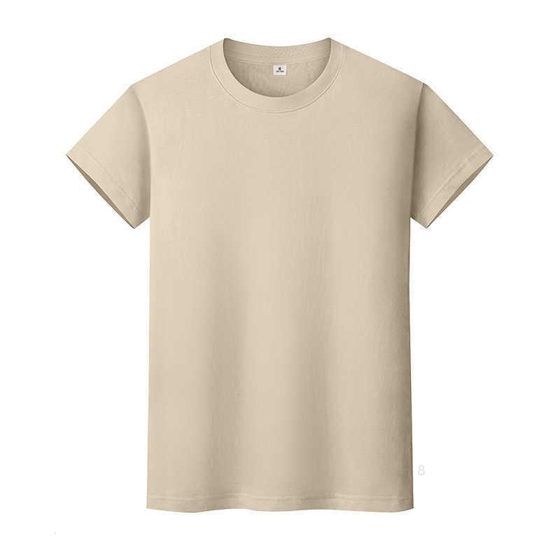 T-shirt de couleur solide ronde en coton de coton à manches courtes à manches courtes et à mi-manches à mi-manche0cf