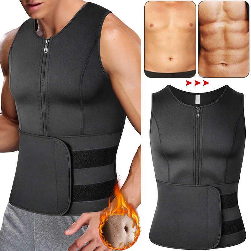 Männer Taille Trainer Sauna Weste Bauch Reduzierer Bauch Abnehmen Körper Shaper Fitness Korsett Burn Fat Shapewear Hemd Trimmer Gürtel 210603