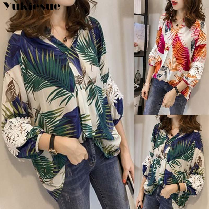 Sommerdruck Langarm Hemd Bluse für Frauen Blusas Womens Tops und Blusen Chiffon Shirts Frau Top Plus Größe 4XL 210412
