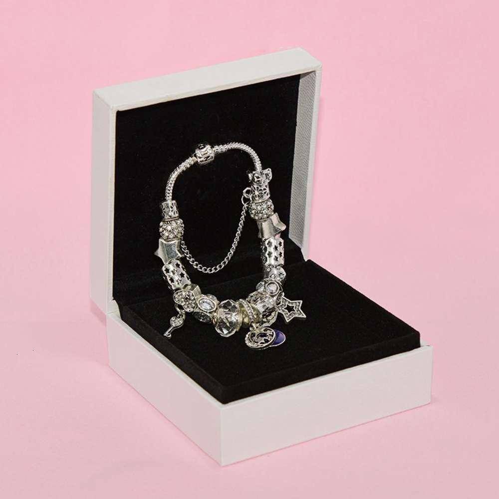 Pulsera de cuentas del encanto de moda para la joyería de Pandora Silver Star Star Moon Colgante Pulsera de la dama con cuentas con caja original regalo de cumpleaños