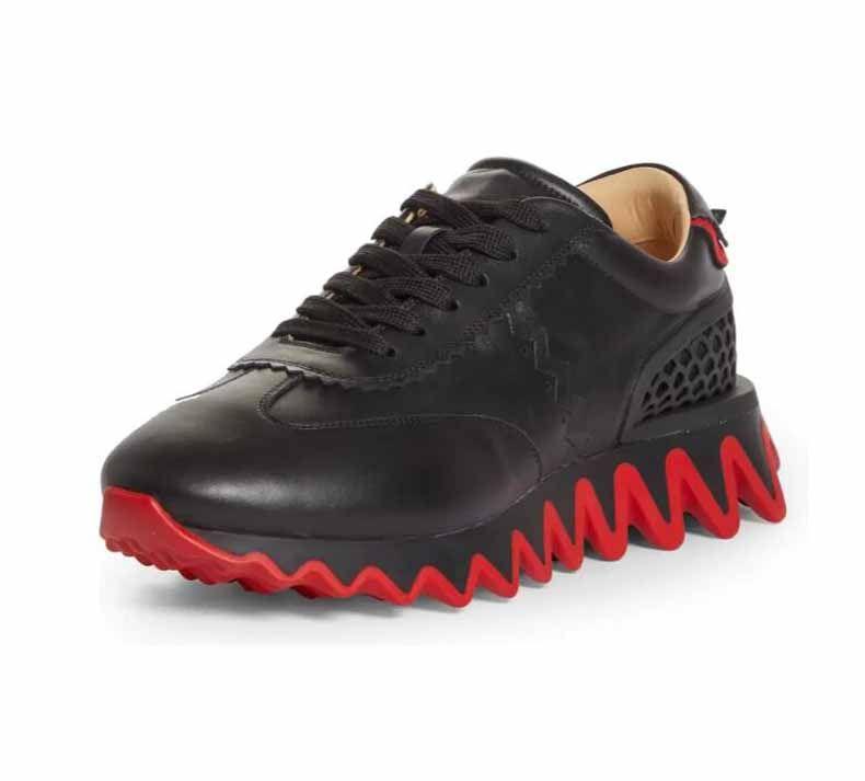 أسلوب الرجال عارضة الأحذية الأحمر أسفل أحذية رياضية loubisharksflat شقة مسننة القرش الأحمر الأحمر باطن، سوبر هدية باريس الذكور الأحمر باطن الأحذية المرح الرجال المشي فستان عالي الجودة