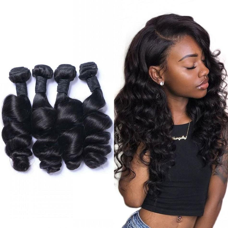 Loose Wave Bundles Malaysian Human Hair Weave 3 or 4 Pcs/Lot Natural Black Thick Virgin Extensions