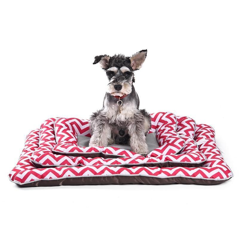Cojín de gato de perro suave Cojín de gato a rayas de mascotas Temperatura de gota en verano Puppy Gatito Cama para dormir S-M Three Colors Kennels Pens